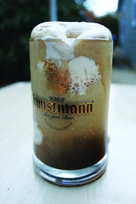 A beer float made with Big Sky Brewing's Slow Elk Oatmeal Stout and Wilcoxson's finest vanilla ice cream.