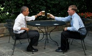 President Obama shares one of the White House Honey Blonde Ales with Medal of Honor recipient Dakota Meyer at the White House. Photo courtesy whitehouse.gov