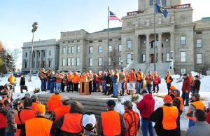 On Monday, Feb. 18, sportsmen crowded the Montana Capitol in support of House Bill 235, which would have allowed corner crossings on public land. Photo by Eliza Wiley/Independent Record.
