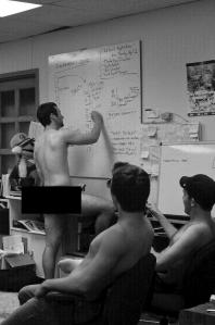 Members of the Exponent conduct an all-nude staff meeting. Photo by Matt Williams, editing by Eric Dietrich