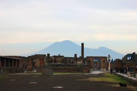 Mount Vesuvius looming over the ruined city of Pompeii.