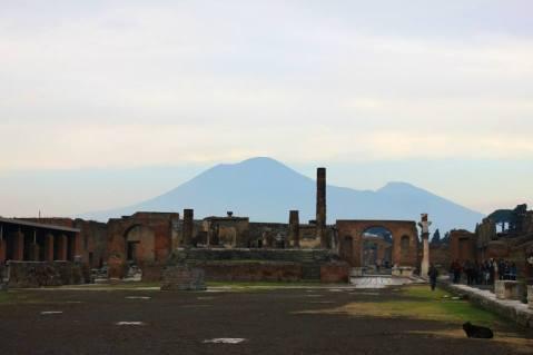 Mount Vesuvius looming over the ruined city of Pompeii.
