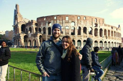 Amanda and I in front of the Colosseum.