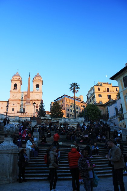 The Spanish Steps as sunset.