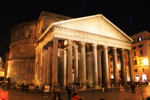 The Pantheon, looming up out of nowhere at night.