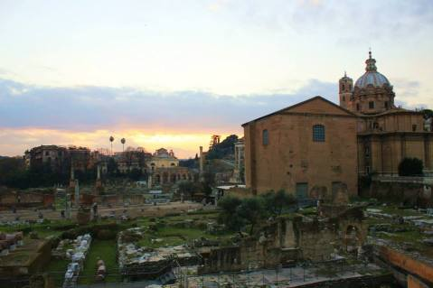 Sunset over the Roman Forum.