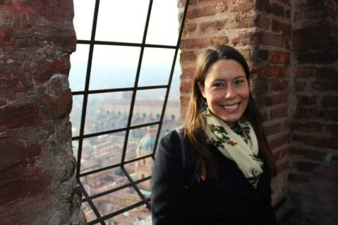 Amanda at the top of the tower.
