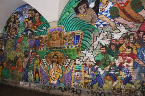 A well done mural with Latin American themes.