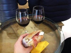 Panino and wine from a café hidden just a few blocks from the Ponte Vecchio.