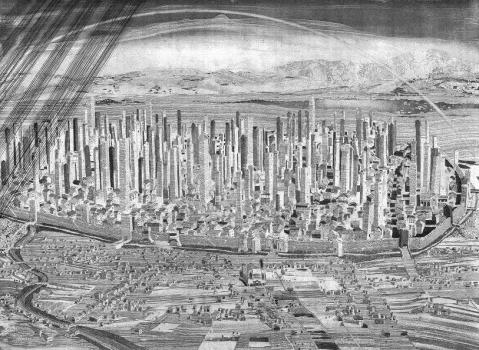 A reconstructed view of medieval Bologna with nearly 200 towers. Image courtesy Toni Pecoraro/Wikimedia Commons.