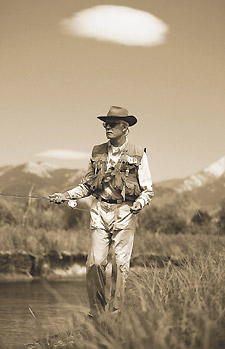 Turner stalks the banks as he fishes a stream flowing through his property. Photo courtesy Kurt Markus, Outside Magazine.