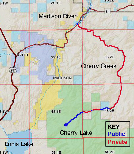 A map of Cherry Creek's route through public and private lands. Blue reaches run through public lands, while red reaches run through private. Image courtesy Brent Zundel, data from Montana Cadastral.